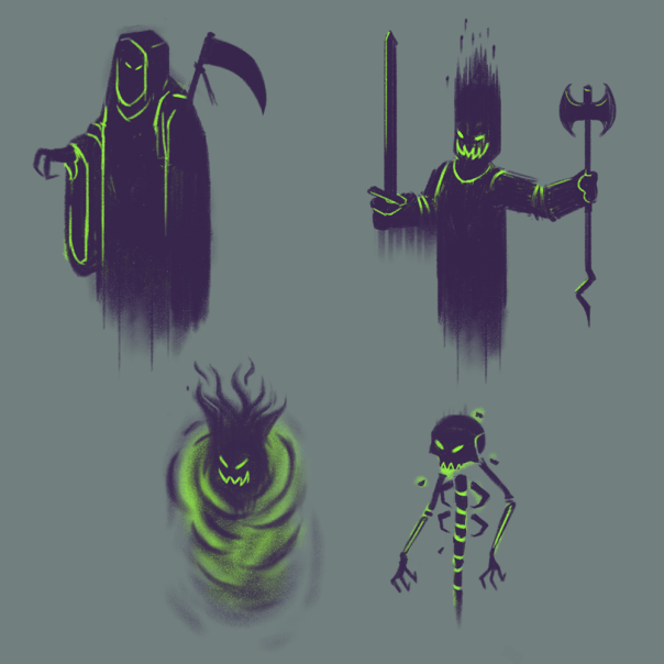MrCroissant's preliminary sketches of the Four Horsemen of the Habbocalypse