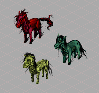 Elementary Kage's original sketches of the Horses for the Horsemen of the Habbocalypse