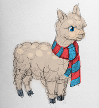 The inital sketch of Albert the Alpaca.