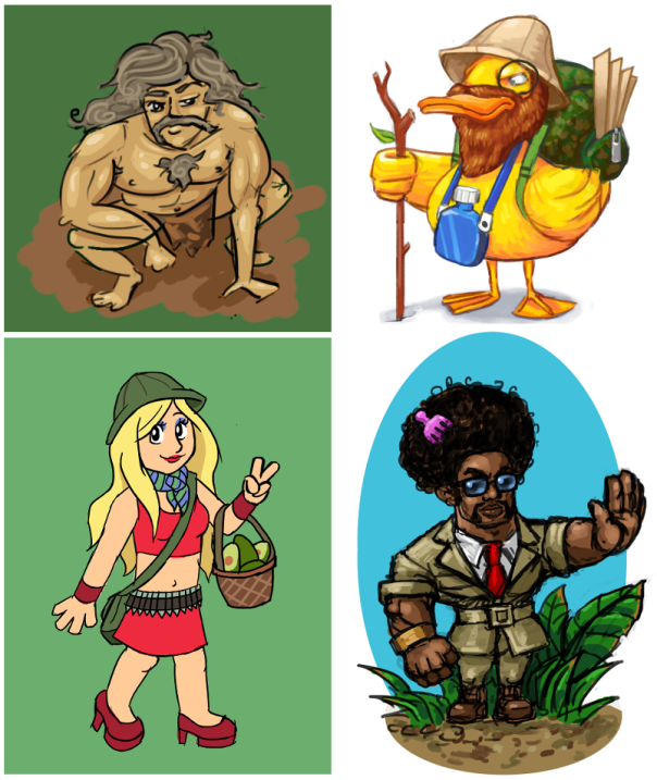 Tarzan Frank by Kukuyit, Explorer Duck by MrCroissant, Bonnie Blonde by Sparkaro and Exploraider by Cromsnosehair