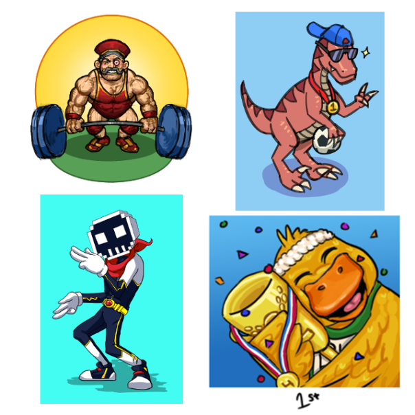 From left, top row: 'Hench Frank' by Cromsnosehair, 'Raptor Mascot' by Sparkaro, 'Bobbaman' by Elementary_Kage and 'Fitness Duck' by Kukuyit.
